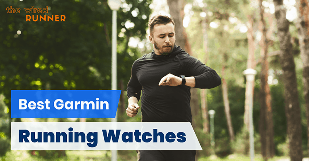 man running with garmin watch