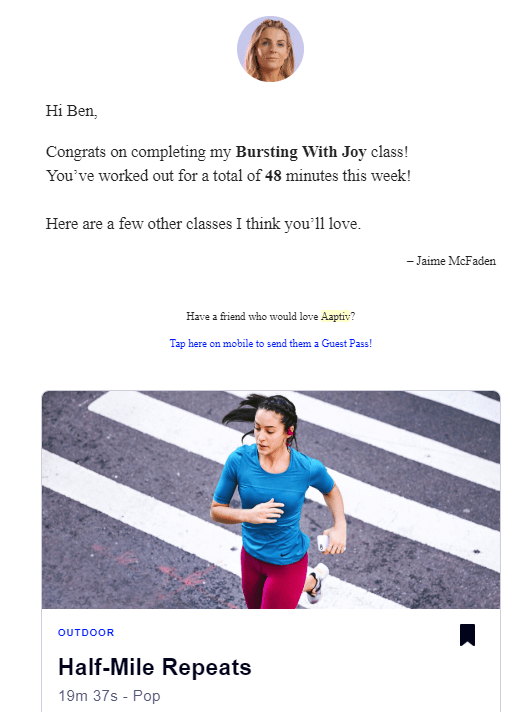 email received from aaptiv post-workout