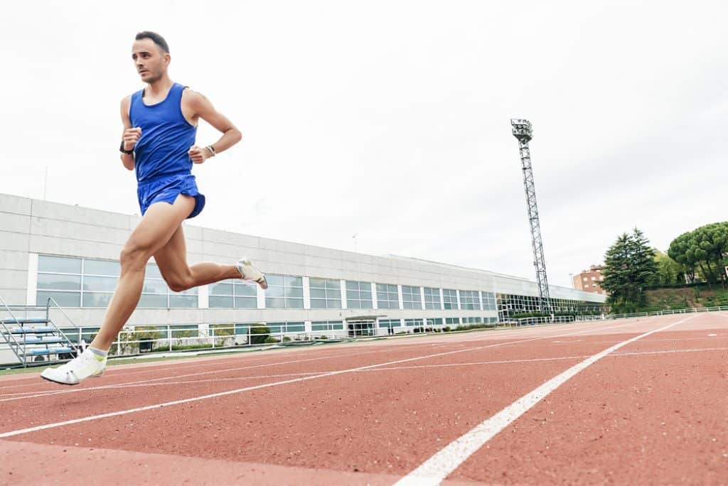 Man running at track